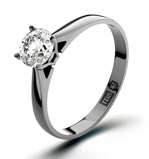 Certified 0.90CT Petra 18K White Gold Engagement Ring H/SI2