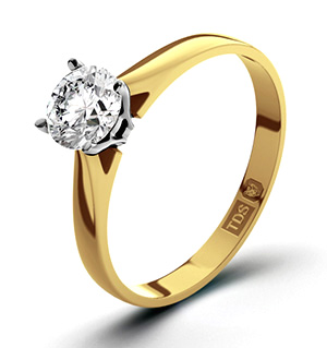 Certified 1.00CT Petra 18K Gold Engagement Ring H/SI1