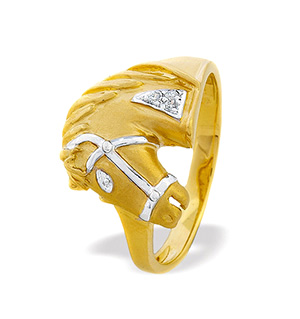 9K Gold Diamond Horse Ring 0.02ct