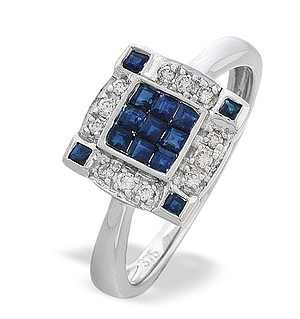 9K White Gold Diamond and Sapphire Square Cluster Ring