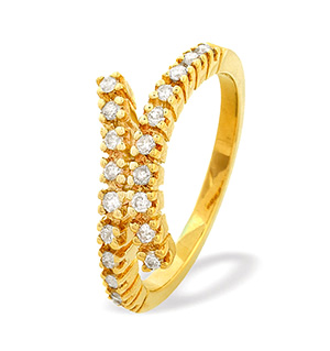 9K Gold Diamond Claw Set Twist Ring (0.30ct)