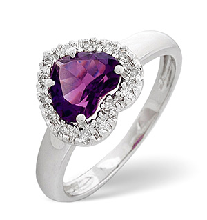 18K White Gold Diamond and Amethyst Ring