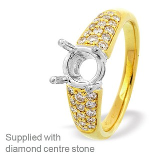 18K Gold Pave Set Ring Mount Dia 0.40ct