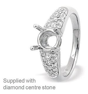 18K White Gold Pave Set Ring Mount Dia 0.40ct