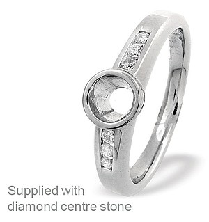 18K White Gold Channel Set Ring Mount Dia 0.13ct