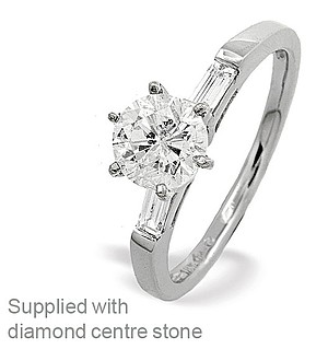 18K White Gold Diamond Ring Mount with Baguette Design on Shoulders
