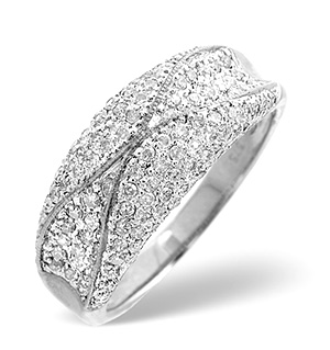 Pave Ring 0.50CT Diamond 9K White Gold