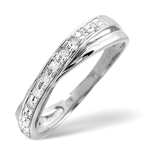 Cross-Over Ring 0.08CT Diamond 9K White Gold