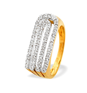 9K Gold Diamond Detail Ring (0.25ct)