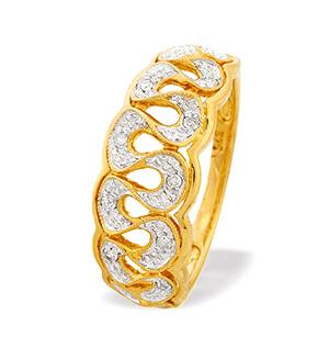 9K Gold Diamond Detail Ring (0.07ct)