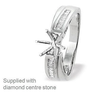 18K Ring White Gold Baguette Set Diamond Mount (0.17ct)