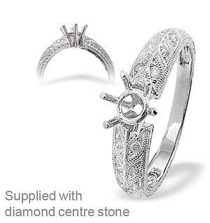 18K Ring White Gold Leaf Design Diamond Set Mount (0.10ct)