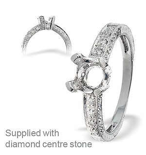 18K White Gold Diamond Set Ring Mount (0.28ct)