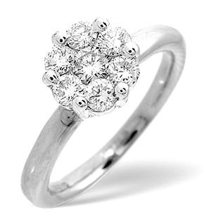 9K White Gold Diamond Cluster Ring 0.27CT
