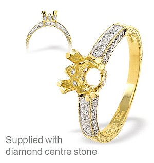 18K Ring Gold Diamond Set Mount (0.28ct)