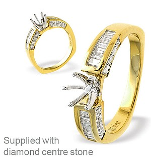 18K Ring Gold Baguette Diamond Set Mount (0.40ct)