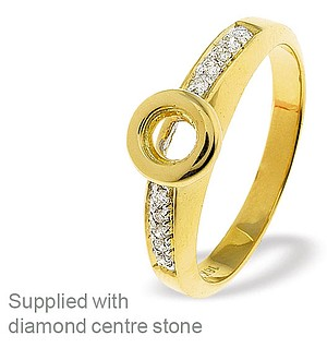 18K Ring Gold Diamond Set Rubover Mount (0.07ct)