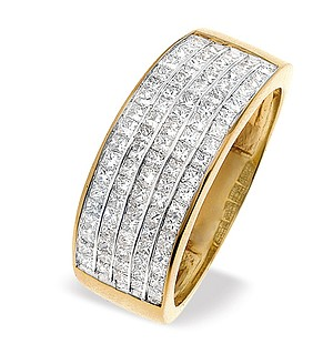18K Gold Princess Cut Diamond 5 Row Half Eternity Ring