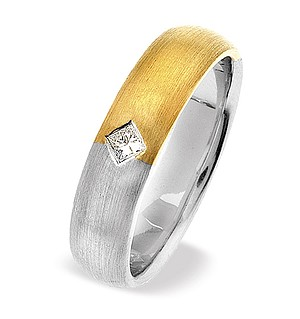 18K Two Tone Single Stone Princess Diamond Ring