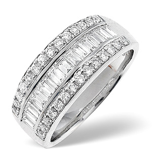18K White Gold Diamond Ring 1.00ct H/si