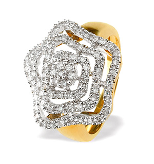 9K Gold Diamond Detail Ring (0.42ct)