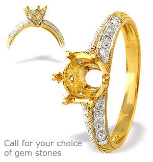 18K Ring Gold Diamond Set Mount (0.24ct)