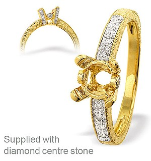 18K Ring Gold Diamond Set Mount (0.14ct)