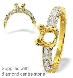 18K Ring Gold Diamond Set Mount (0.28ct)