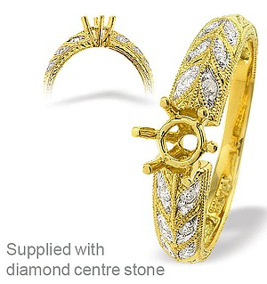 18K Ring Gold Intricate Diamond Mount (0.10ct)