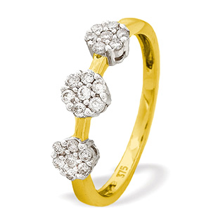 9K Gold Diamond Triple Cluster Ring (0.26ct)