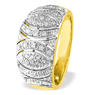 9K Gold Diamond Detail Ring (0.41ct)