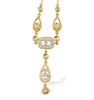 9K Gold Diamond Teardrop Design Necklace (0.11ct)