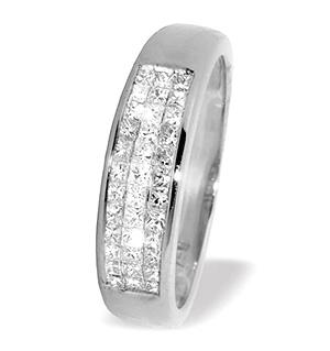 18K White Gold Princess Cut Diamond Half Eternity Ring (0.50ct)
