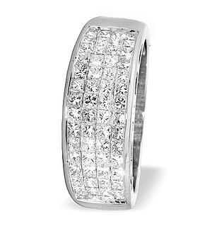 18K White Gold Princess Cut Diamond Half Eternity Ring (1.25ct)