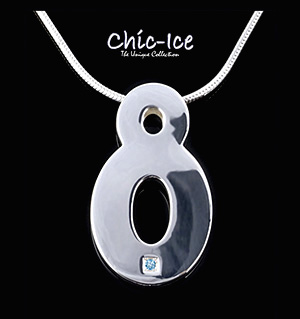 Chic Ice Blue Diamond Designer Silver Torino Necklace