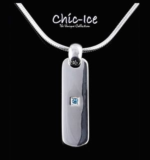 Chic Ice Blue Diamond Designer Silver Napoli Necklace