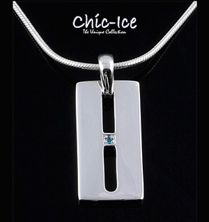 Chic Ice Blue Diamond Designer Silver Milano Necklace
