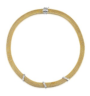 Gold Vermeil Diamond Bar Design Necklace - UP3223