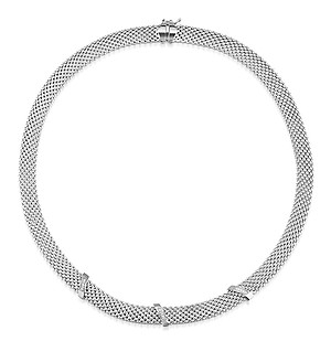 Silver Diamond Bar Design Necklace - UP3224
