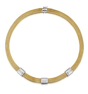 Gold Vermeil Diamond Detail Necklace - UP3225