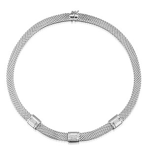 Silver Diamond Detail Necklace - UP3226