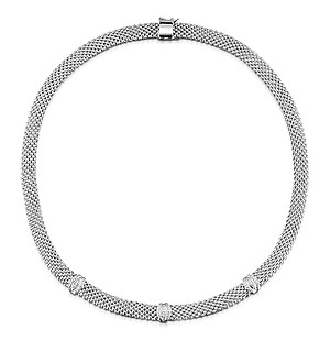 Silver Diamond Detail Necklace - UP3227