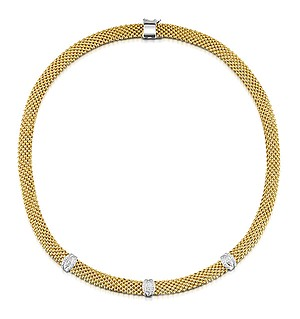 Gold Vermeil Diamond Detail Necklace - UP3228