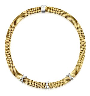 Gold Vermeil Crossover Diamond Design Necklace - UP3229
