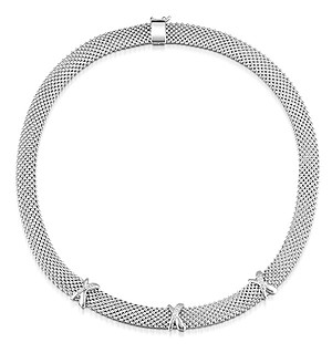 Silver Crossover Diamond Design Necklace - UP3220