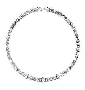 Silver Diamond Bar Design Necklace - UP3221