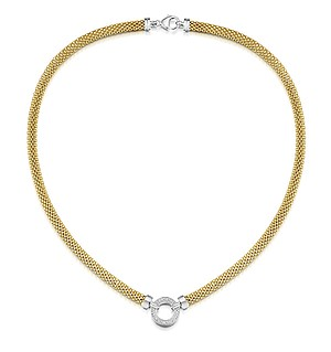 Gold Vermeil Diamond Circle Link Design Necklace - UP3233