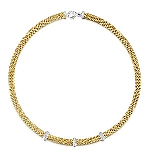Gold Vermeil Diamond Bar Design Necklace - UP3234