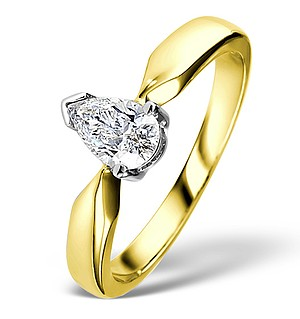 Pear Shaped 18K Gold Diamond Engagement Ring 0.50CT-G-H/SI