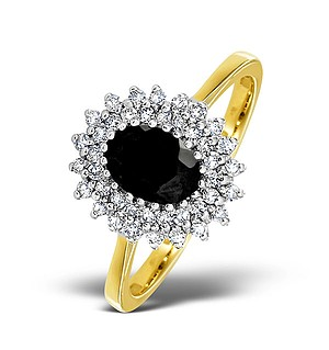 18K Gold Diamond and Sapphire Ring 0.30ct